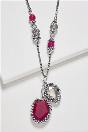 Rose Crystal Pendant Long Necklace