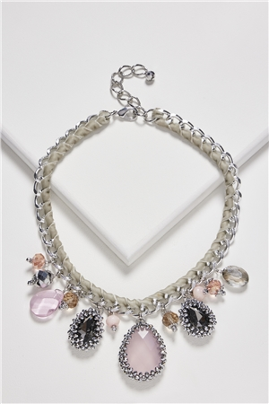 Rose Crystal Charms Bib Necklace