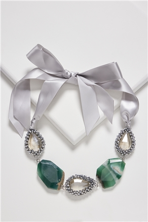 Shaded Emerald Agate Crystal Tie Up Bib Necklace
