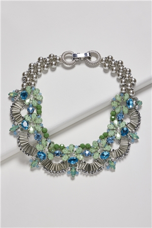 Flamboyant Peacock Cluster Pearl Crystal Bib Necklace