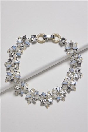 Wishes On The Wind White Crystal Floral Bib Necklace