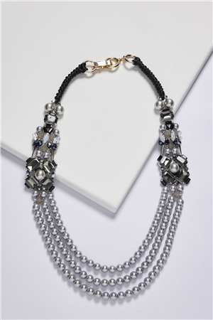 Black Retro Diva Layered Long Crystal Pearl Necklace