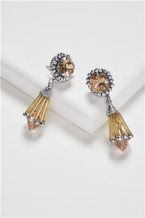 Gold Spade Crystal Earrings