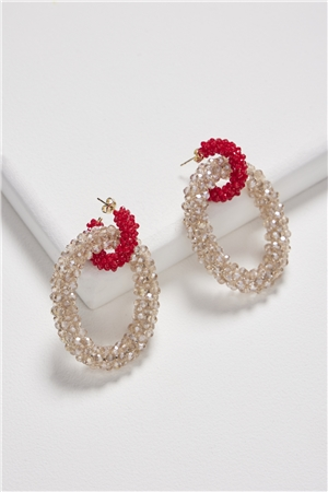 Shimmery Subtles Champagne Red Crystal Double Hoop Earrings