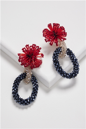 Spinning In Spirals Blue Red Flower Burst Double Hoop Earrings