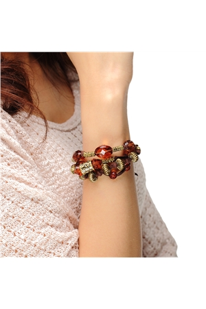 Glass Bead Brown Thread Bracelet