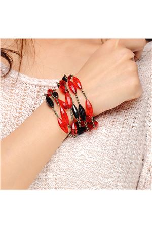 Oblong Glass Bead Lady Bird Bracelet