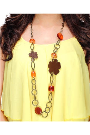 Brown Flower Interlinked Bead Necklace