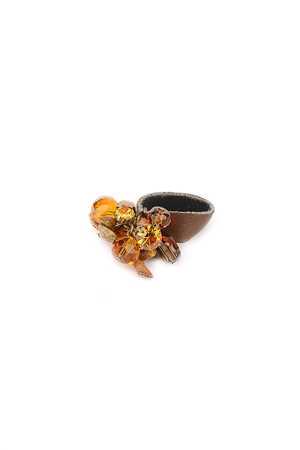 Brown Beads Cluster Single Strap Ring