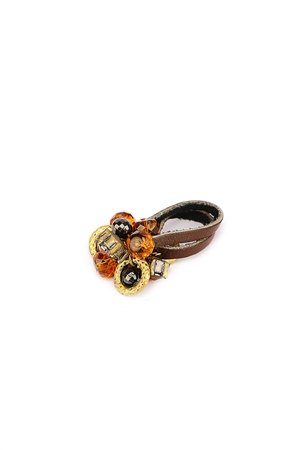 Brown Beads Cluster Duo Strap Ring