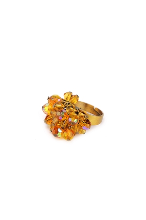 Amber Beads Cluster Ring