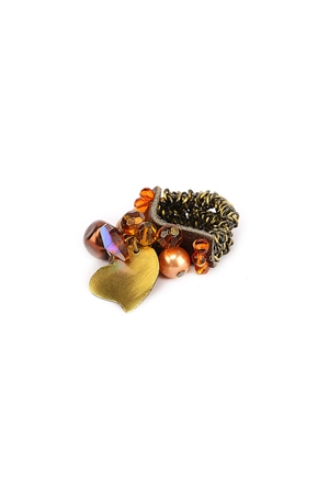 Brown Beads Cluster Heart Charm Ring
