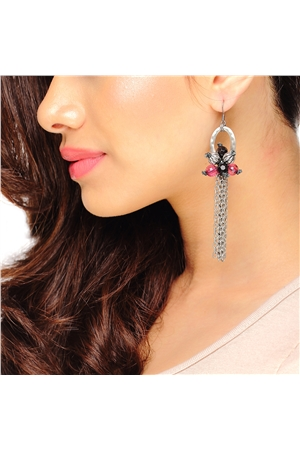 Slinky Silver Chain Flower Tassel Earrings
