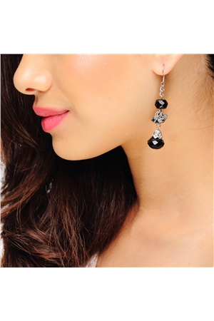 Black Bead Drop Long Earrings