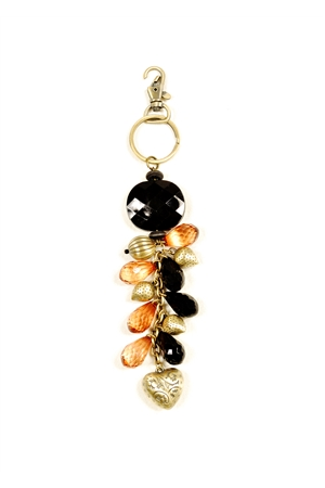 Tan Heart Key Ring