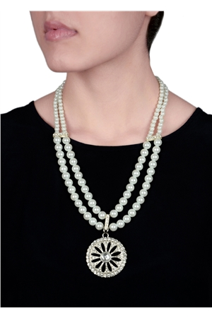 Duo Pearl Strand Diamante Pendant Necklace