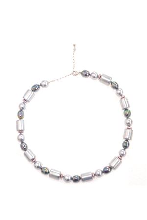 Multi Barrel Grey Majorca Pearl Necklace