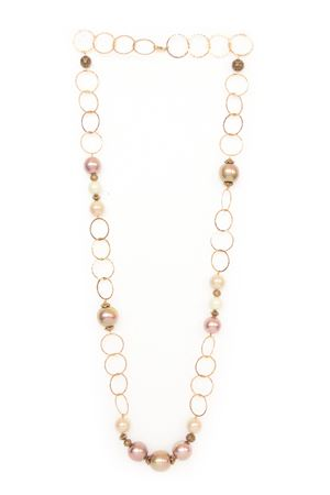 Hammered Gold Plated Rings Majorca Pearl Long Necklace