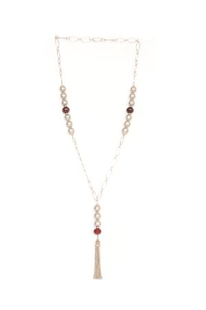 Baroc Gold Plated Cranberry Tassel  Necklace