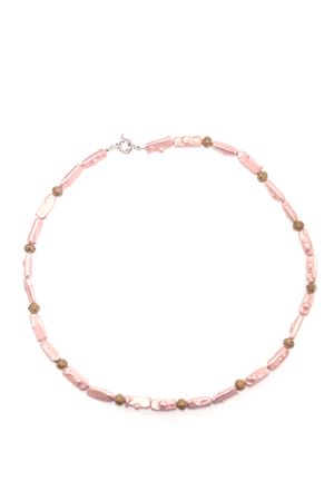 Rose Pink Pearl Bali Necklace