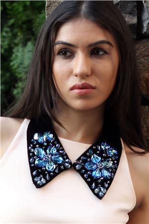 Lady Not Lord Blue Floral Crystal Velvet Collar Necklace