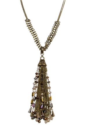 Ophelia Tassel Vintage Glass Beads Tassel Pendant Necklace