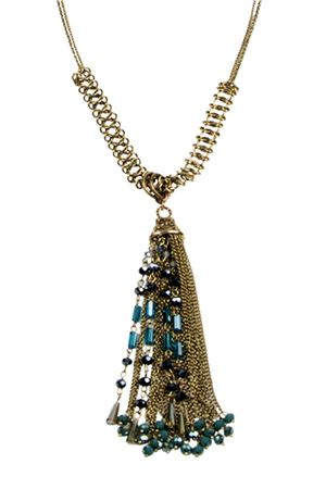 Bianca Tassel Blue Glass Beads Tassel Pendant Necklace