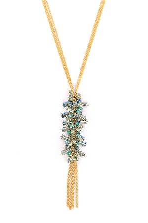 Dream Catcher Crystal Blue Tassel Pendant Necklace
