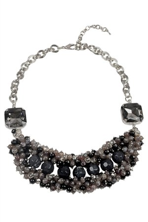 The Enchantress Black Glass Bead Bib Necklace