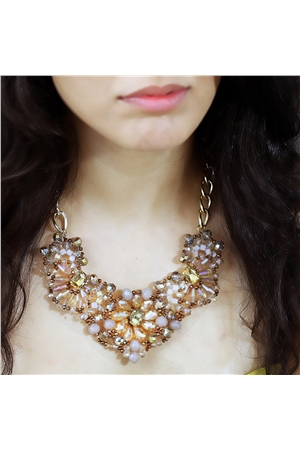 Pale Daffodil Blossom Floral Crystal Bib Necklace