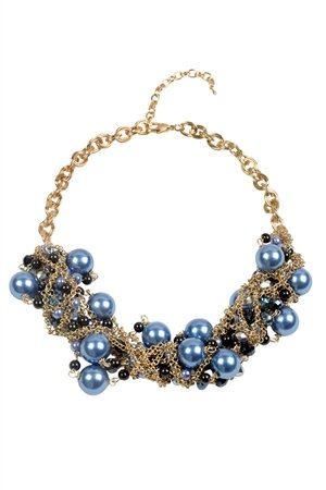 Star Gazer Blue Crystal Pearl Statement Necklace