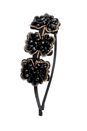 The Queen Waldorf - Black And Champagne Crystal Stone  Hairband