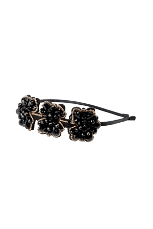 The Queen Waldorf Black And Gold Crystal Floral Hairband