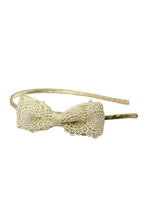 The Constance Embroidered White Bow Hairband