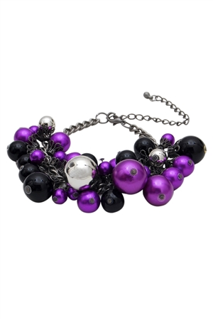 Purple Beads And Baubles Bracelet