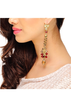Woven Golden Long Crystal Drop Earrings