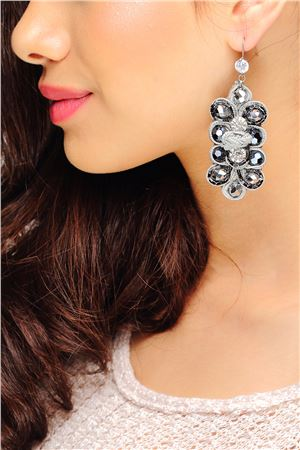 Grey Velvet Cocktail Crystal Studded Earrings
