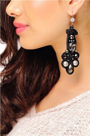 Black Velvet Crystal And Pearl Studded Earrings