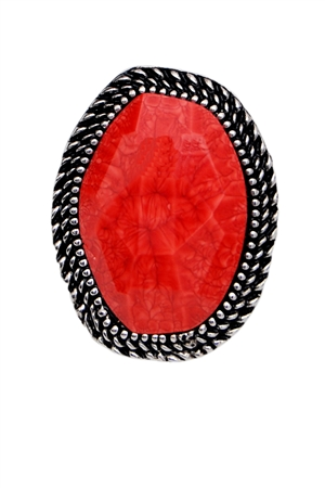 Red Stone Oval Ring