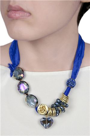 Blue Satin Crystal Tie Up Necklace