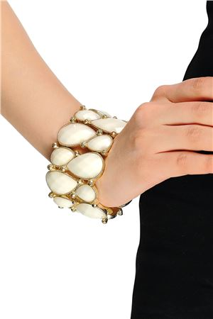 Stretch White Glass Stone Cuff Bracelet