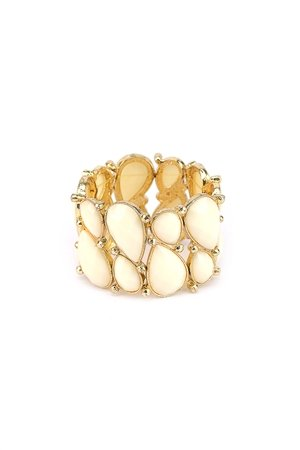White Stones Stretch Cuff Braclet