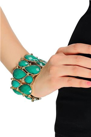 Stretch Green Glass Stone Cuff Bracelet
