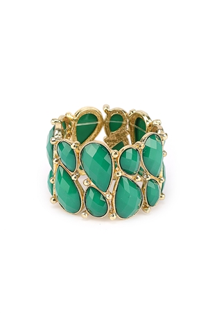 Green Stones Stretch Cuff Bracelet