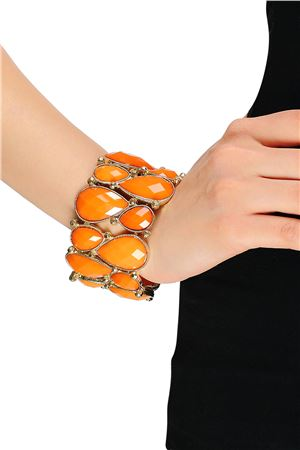 Stretch Orange Glass Stone Cuff Bracelet