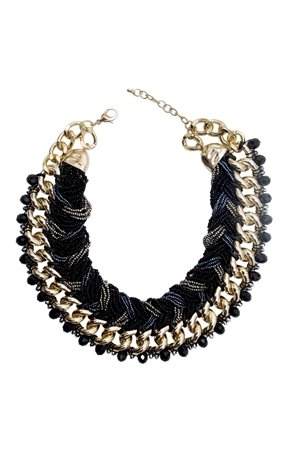 Shades Of Grey Glass Bead Collar Necklace