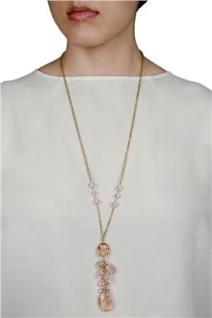 Blushing Mimosa Pink Glass Bead Pendant Necklace