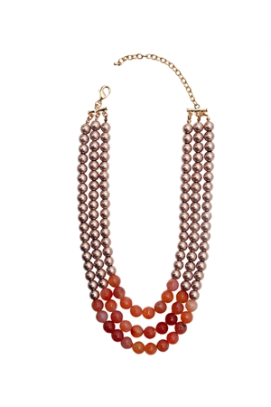 Majestic Agate Three Layered Pearl Necklace
