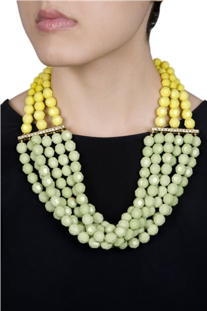 Drops Of Absinthe Yellow Green Resin Bead Chunky Necklace