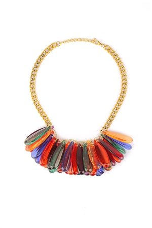 Drops Of Rainbow Cracked Bead Effect Bib Necklace